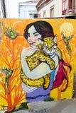 妇女和野生猫本质上 免版税库存图片