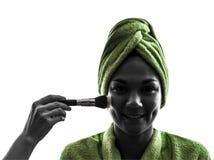 妇女和组成刷子剪影 库存照片