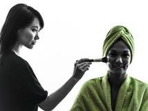 妇女和组成艺术家剪影 库存照片
