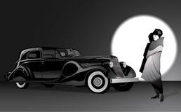 妇女和黑汽车 免版税图库摄影