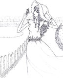 妇女和蝴蝶线艺术图画速写例证 库存照片