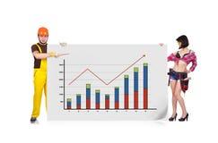 妇女和建造者 免版税库存图片