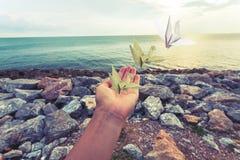 妇女和origami鸟Origami的手抬头 库存照片