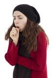 妇女咳嗽 免版税图库摄影