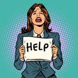 妇女哭泣的帮助海报 向量例证