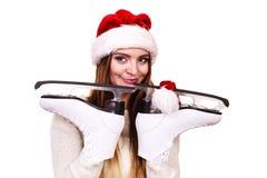 妇女圣诞老人与滑冰 图库摄影