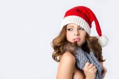 妇女圣诞老人助理 库存图片