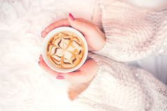 妇女在一个冬天递拿着一个杯子热的咖啡,浓咖啡,冷的天 顶视图 免版税库存照片