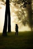 妇女在一个有薄雾的森林里 库存图片