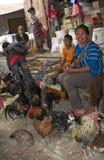 妇女在与鸡的市场上 库存图片