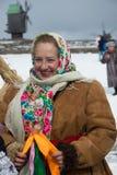 妇女在假日传统乌克兰冬天衣裳穿戴了 图库摄影
