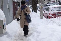 妇女在冬天走 免版税库存图片