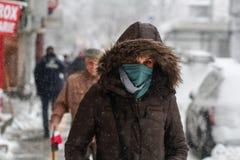 妇女在冬天走 免版税库存照片