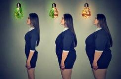 妇女在减重前后的` s身体 医疗保健和饮食概念 图库摄影