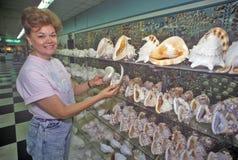 妇女在壳工厂,迈尔斯堡,佛罗里达拿着壳 免版税库存照片