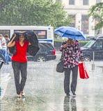 妇女在大雨中 库存图片