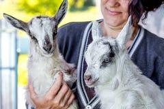 妇女在她的手上拿着两只山羊 对animals_的爱 免版税库存图片