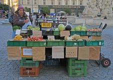妇女在布尔诺卖在街市上的菜,捷克语 库存照片