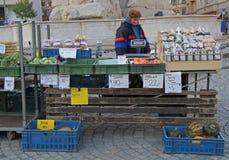 妇女在布尔诺卖在街市上的菜,捷克语 库存图片