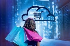 妇女在拿着购物袋3d的数据中心 库存图片