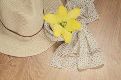 妇女在旅行去休假或-一个帽子和一条轻的围巾有圆点的在木背景说谎 浪漫心情 库存图片