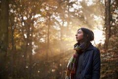 妇女在有发光通过树的太阳的秋天森林里走 免版税库存图片