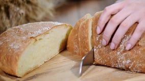 妇女在木板的切口面包 细菌学家 面包生产 股票视频