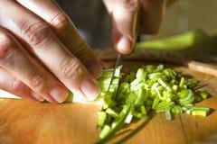 妇女在木板的被切开的新鲜蔬菜 库存照片