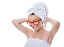 妇女在沐浴以后 免版税库存照片
