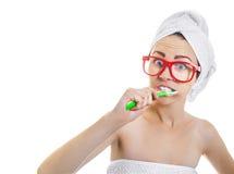 妇女在沐浴以后 库存照片