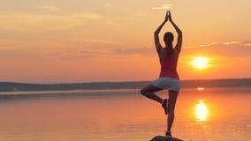 妇女在湖附近做瑜伽 股票视频