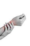 妇女在痛苦区域的握她的腕子 免版税图库摄影