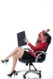 妇女在白色的工作 免版税库存照片