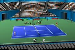 妇女在竞争中的打网球 免版税库存照片
