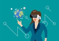妇女在虚拟现实中 免版税库存照片