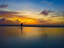 妇女在阿鲁巴双重海  免版税库存照片