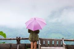 妇女在雨中的拿着一把伞 免版税图库摄影