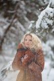 妇女在雪冬天森林里 库存照片