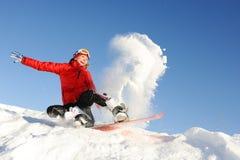 妇女在雪板的作为乐趣 免版税库存照片