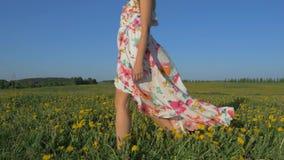 妇女在风振翼的礼服的一个开花的黄色领域走 股票视频