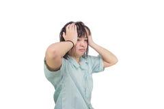 妇女在头上把手放,隔绝在白色 prob的概念 库存照片