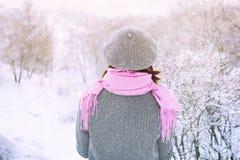 妇女在水平多雪的冬天的森林里 库存图片