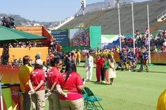 妇女在Rio2016的` s马拉松胜利仪式  免版税库存图片