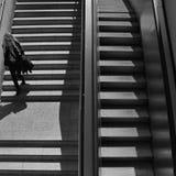 妇女地铁台阶 免版税库存照片