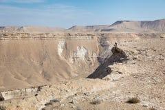 妇女坐的沙漠山边缘 库存照片