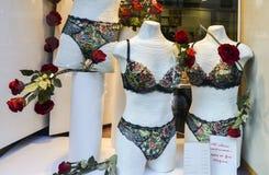 妇女塑造了与性感的内衣和玫瑰的时装模特在商店前窗显示在米兰在华伦泰` s天前 免版税库存图片