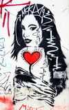 妇女墙壁街道画 免版税图库摄影