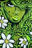 妇女墙壁街道画 免版税库存照片