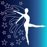 妇女天使翼和星 库存例证