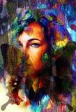 妇女天使面孔和蝴蝶 结构和颜色拼贴画艺术 免版税库存图片